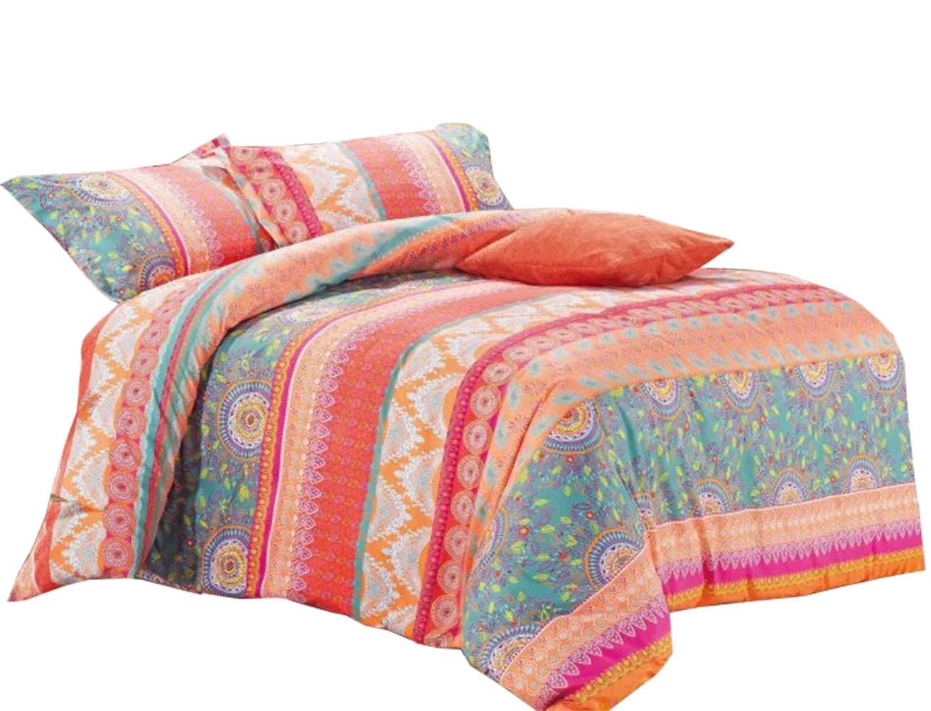 Wake In Cloud - Bohemian Comforter Set, Orange Coral Boho Chic Mandala Pattern Printed, Soft Microfiber Bedding (3pcs, Twin Size)