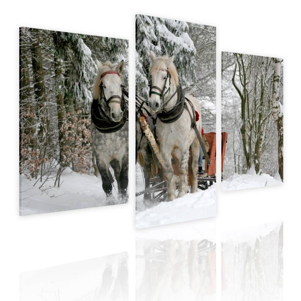 Alonline Art - Horses in The Forest Split 3 Panels Framed Stretched Canvas (100% Cotton) Gallery Wrapped - Ready to Hang | 39''x26'' - 99x66cm | 3 Panels Multi Framed Wall Art Giclee Framed Art