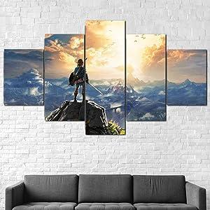 JIUH - Halloween Furniture Wall Art Decor Poster - Legend Zelda Breath of The Wild Canvas Print Framed 5 Pcs Wall Art Poster Decor - for Home Decoration Living Room Artwork