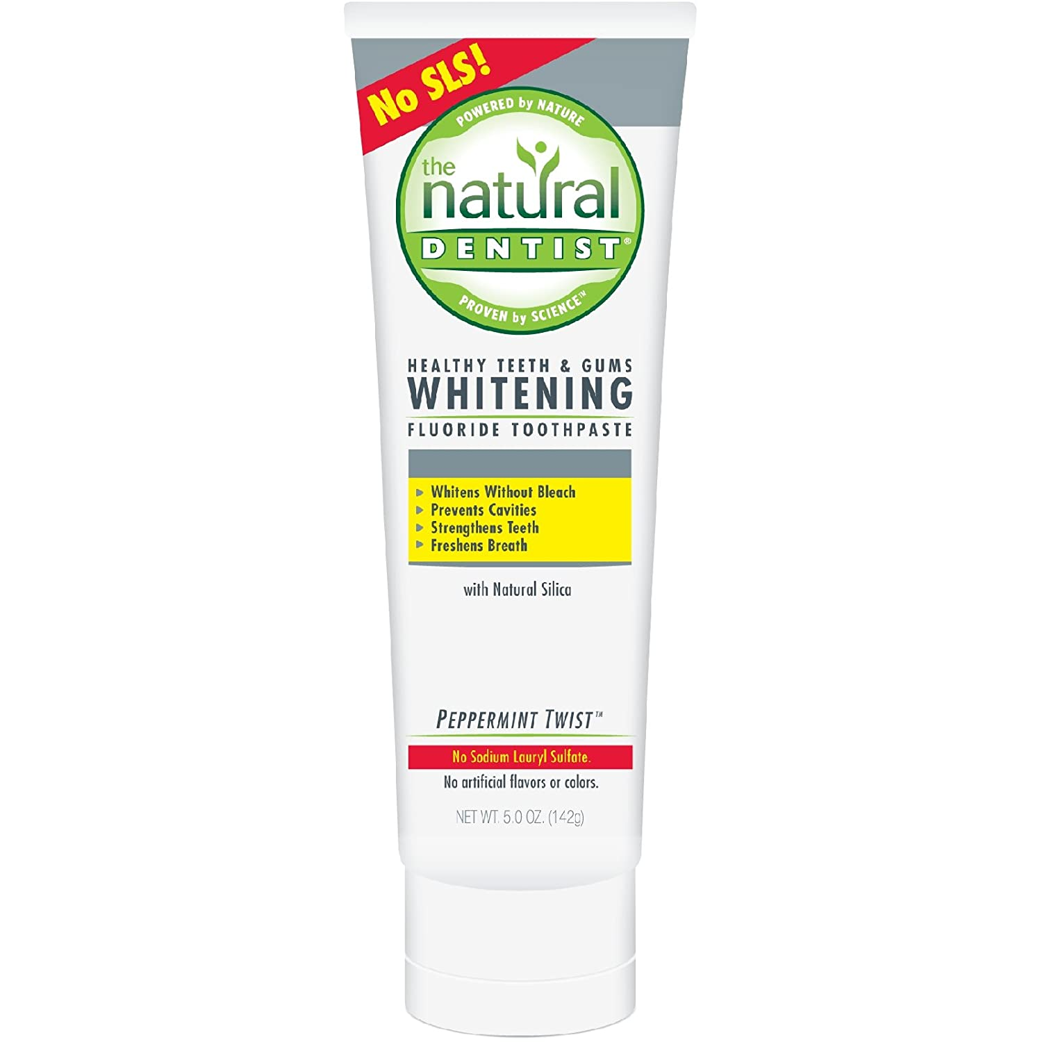 The Natural Dentist Healthy Teeth & Gums Whitening Plus Toothpaste, Peppermint Twist 5 oz (Pack of 4)