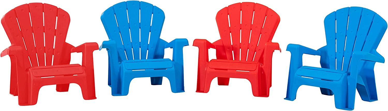 AmazonBasics Indoor and Outdoor Plastic Toddler Chairs - 4 Pack, Multicolor