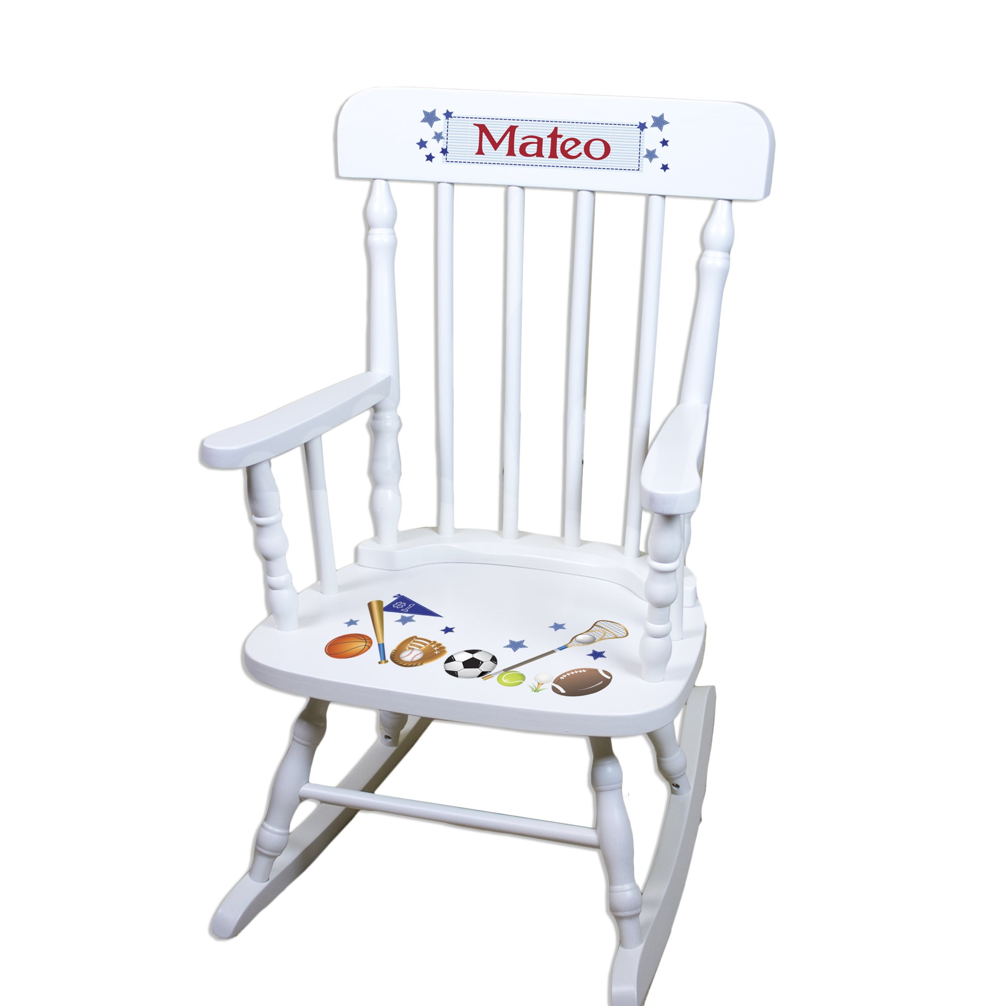 Personalized Boys Rocking Chair-white
