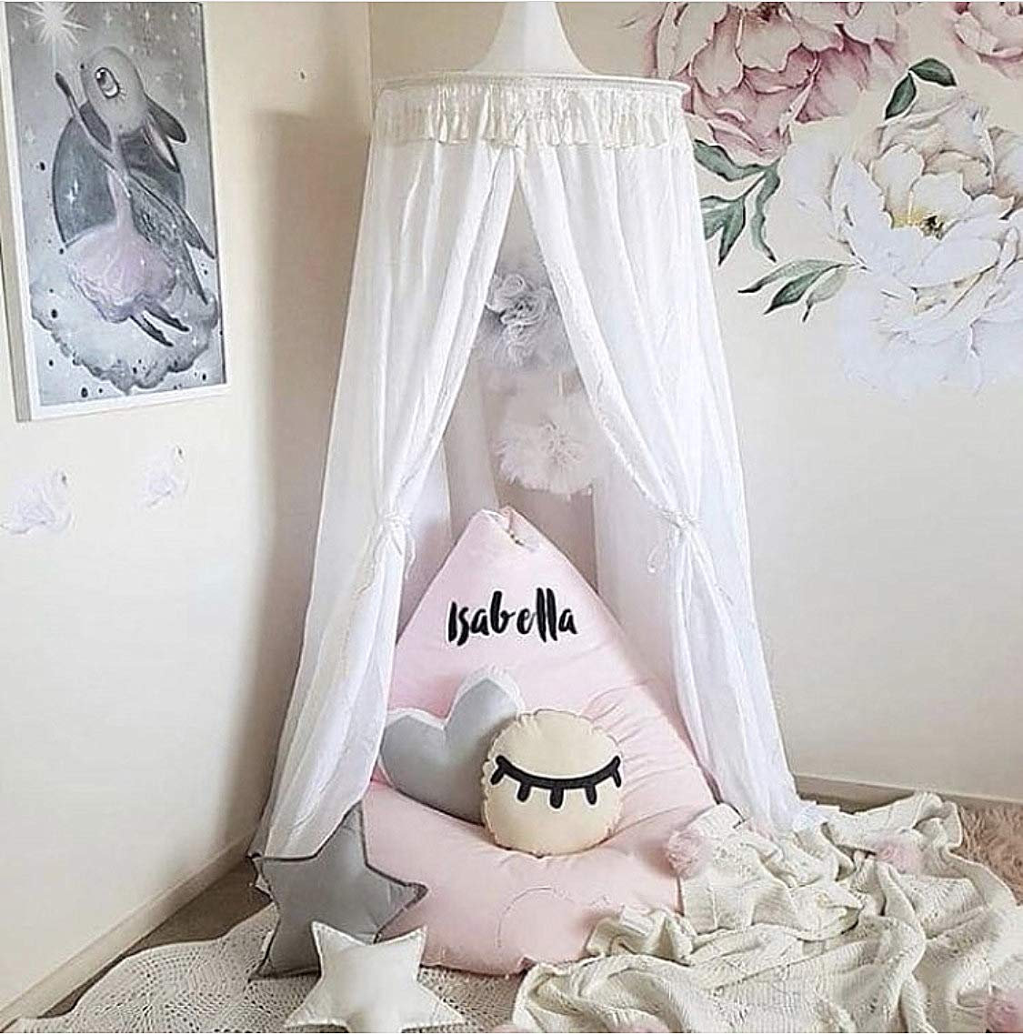 Bed Canopy Round Dome with Tassel, Big Size Cotton Bed Canopy, Cotton Mosquito Net, Bed Canopy for Reading Room, Kids Bedroom Decoration, 60240cm (White)