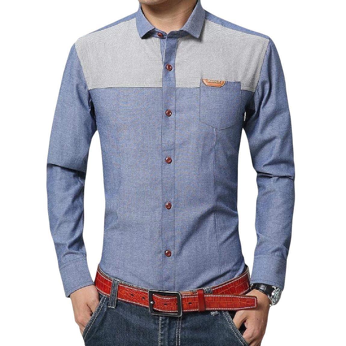 Zimaes-Men Spread Collar Non-Iron Formal Cotton Linen Dress Shirts