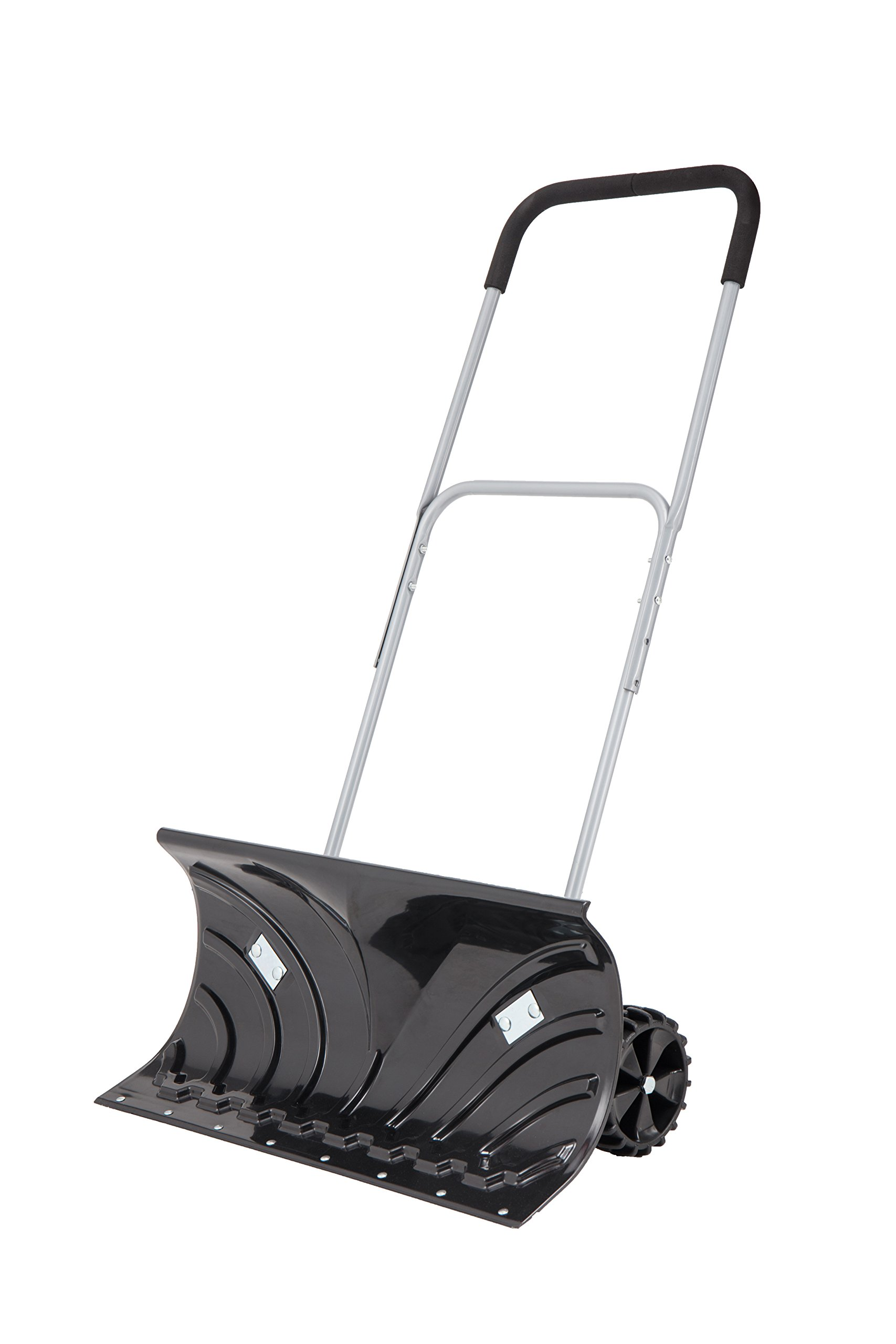 ORIENTOOLS Heavy-Duty Rolling Adjustable Snow Pusher with 6'' Wheels, Suitable for Driveway or Pavement Clearing (25'' Blade)