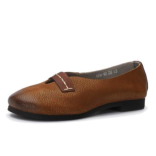 Zapatos mokasin Comfort Planos para Mujer Mocasines en Cuero Genuino de tacón bajo Vintage Zapatos sin Cordones con Suela Blanda y Punta Redonda Primavera y ...