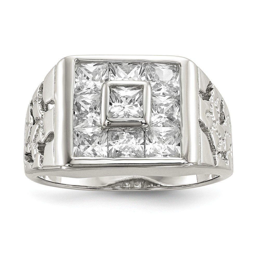 Brilliant Bijou Solid .925 Sterling Silver Mens CZ Cubic Zirconia Ring Size 11