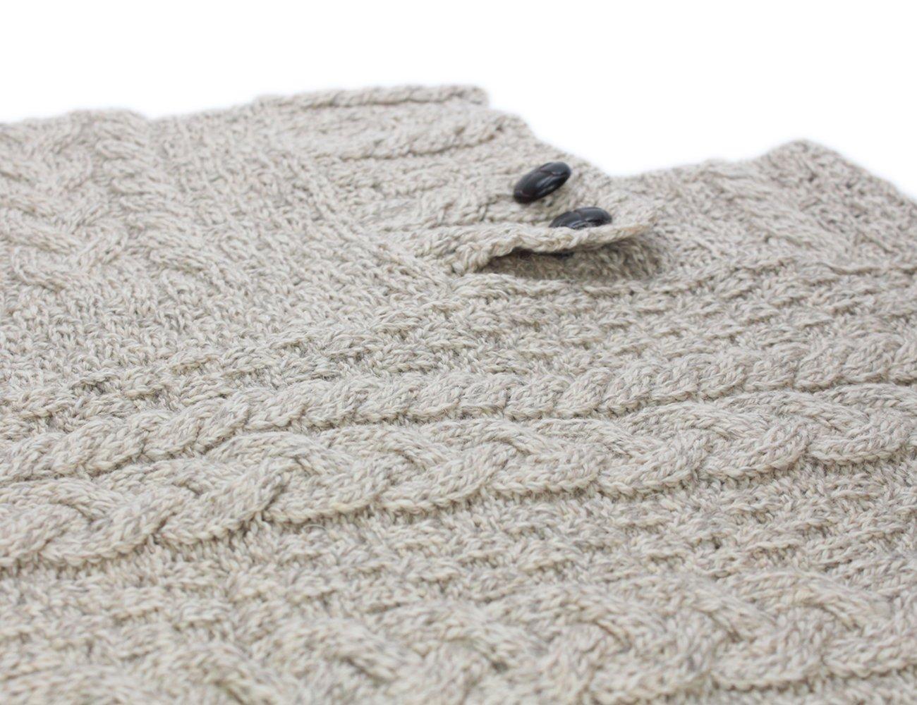 Fisherman Knit Poncho 100% Merino Wool Natural by Carraig Donn (Image #3)