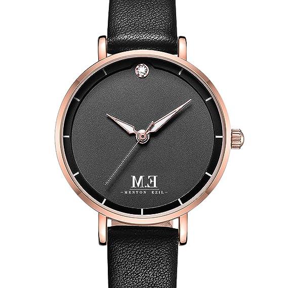 Women Mini Wrist Watch Black Leather Strap Quartz Movement by M.E, Simple and Classic,