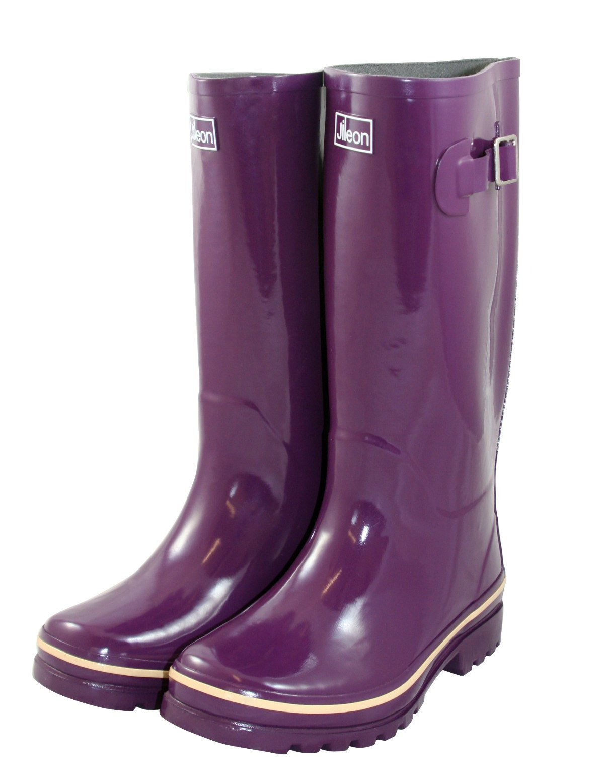Jileon Wide Calf All Weather Durable Rubber Rain Boots for Women-Soft & Fluffy Lining on The Inside–Fits Calf Sizes up to 18 inches (7 W (Wide) US, Purple Gloss) by Jileon (Image #3)