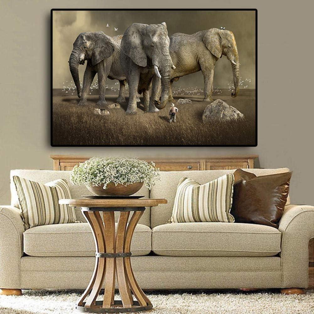 Amazon.com: ZZXLX Africa Animal Elephant Canvas Painting Posters