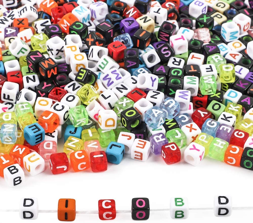 DICOBD 1000pcs 5 Colors Letter Beads Acrylic Alphabet Cube Beads for Jewelry Making with 2 Elastic String Cords