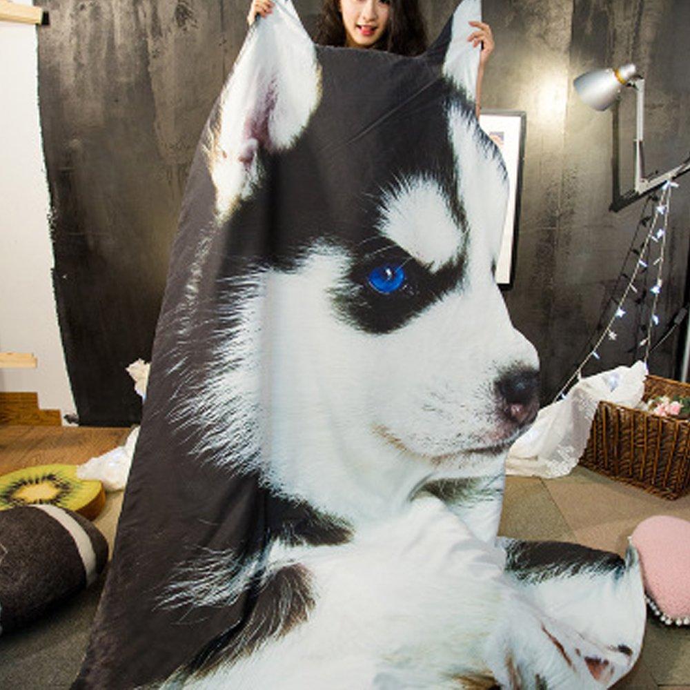 Koongso 3D Animal Prints Blanket Bedding Dog Shaped Summer Quilt Huskie Comforter Washable Light Quilt