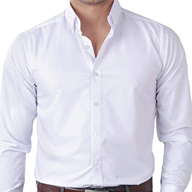 b6123ca5903 IDENTITY Mens Plain White Button Down Woven Smart Casual Formal Corporate  Wear Long Sleeve Shirt (