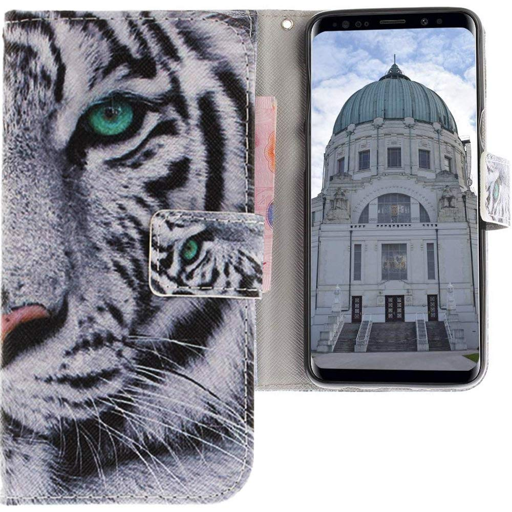 Phone Synthetic Leather Cover Cat tomato white gray Flip Case for Samsung Galaxy S9 CLM-Tech Samsung Galaxy S9 Wallet Case