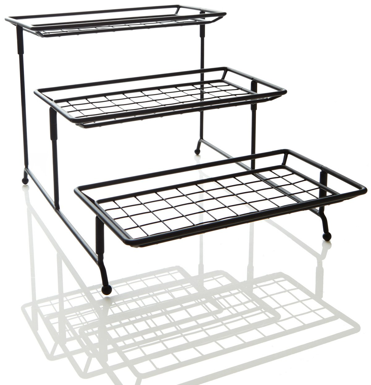 iEnjoyware 3 Tiered Mesh Swivel Wire Stand with Porcelain Serving ...