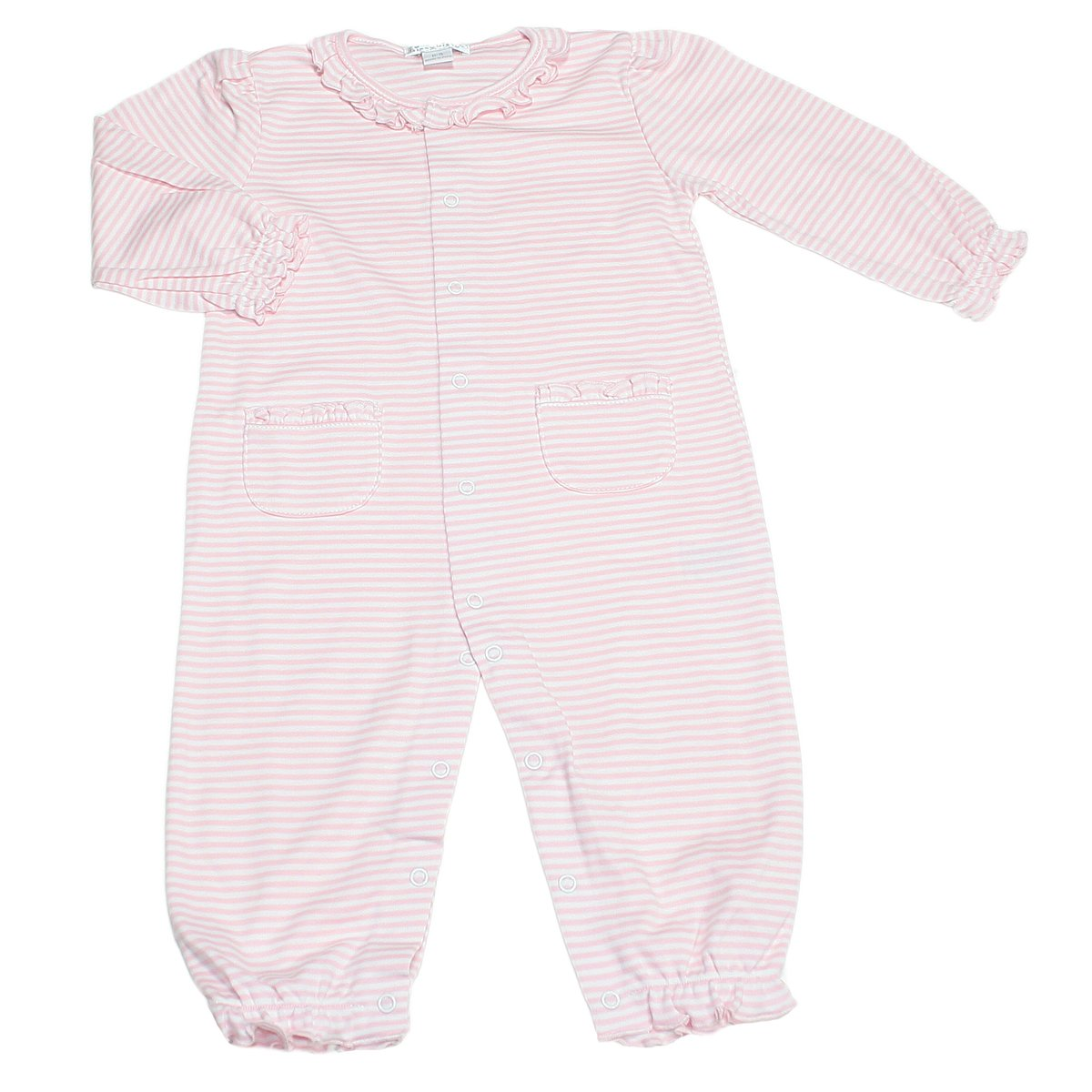 f96701895 Amazon.com  Kissy Kissy Baby Girls Stripes Pink Striped Footie With  Gathered Collar  Infant And Toddler Bodysuit Footies  Clothing
