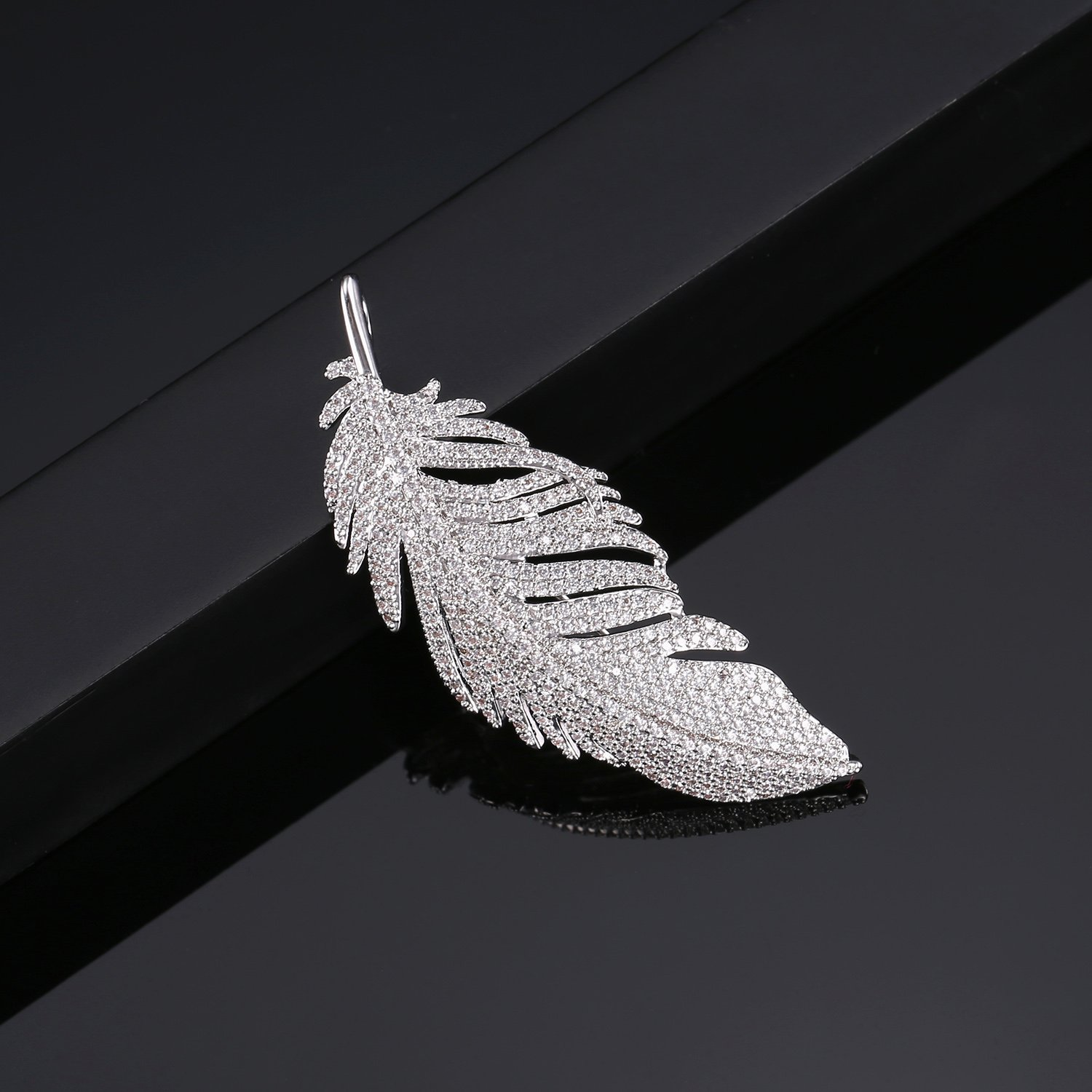 LILIE&WHITE White Gold Plated Cubic Zirconia Paved Feather Brooch Pin Mother's Day Gift Leaf Shape by LILIE&WHITE (Image #5)