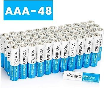 48-Pack VONIKO Premium Grade AAA Alkaline Batteries