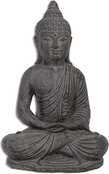 Ciffre 35 cm Piedra Buda Antiguo maciza piedra Figura Escultura Feng Shui Jardín Decoración impermeable Lava Piedra vitakra Mudra de Bali STB7: Amazon.es: Jardín