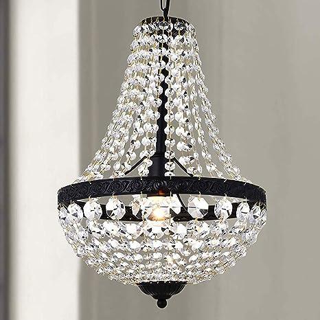 Bestier Modern French Empire Black Finish Farmhouse Crystal Pendant  Chandelier Lighting LED Ceiling Light Fixture Lamp Dining Room Bathroom  Bedroom ...