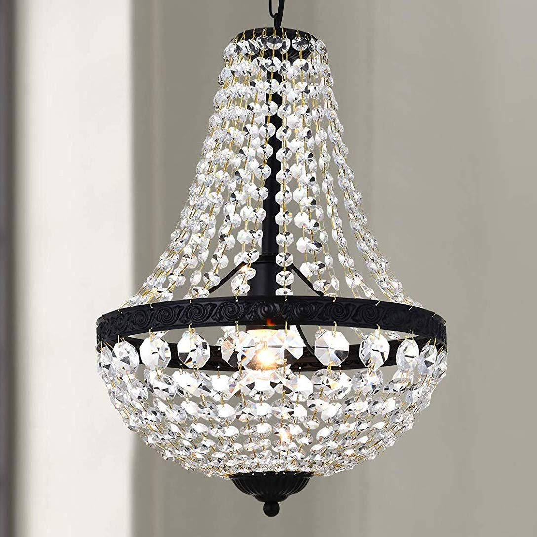 Modern French Empire Black Finish Farmhouse Crystal Pendant Chandelier Lighting LED Ceiling Light Fixture Lamp Dining Room Bathroom Bedroom Livingroom 1E26 Bulbs Required H18 in X D12 in