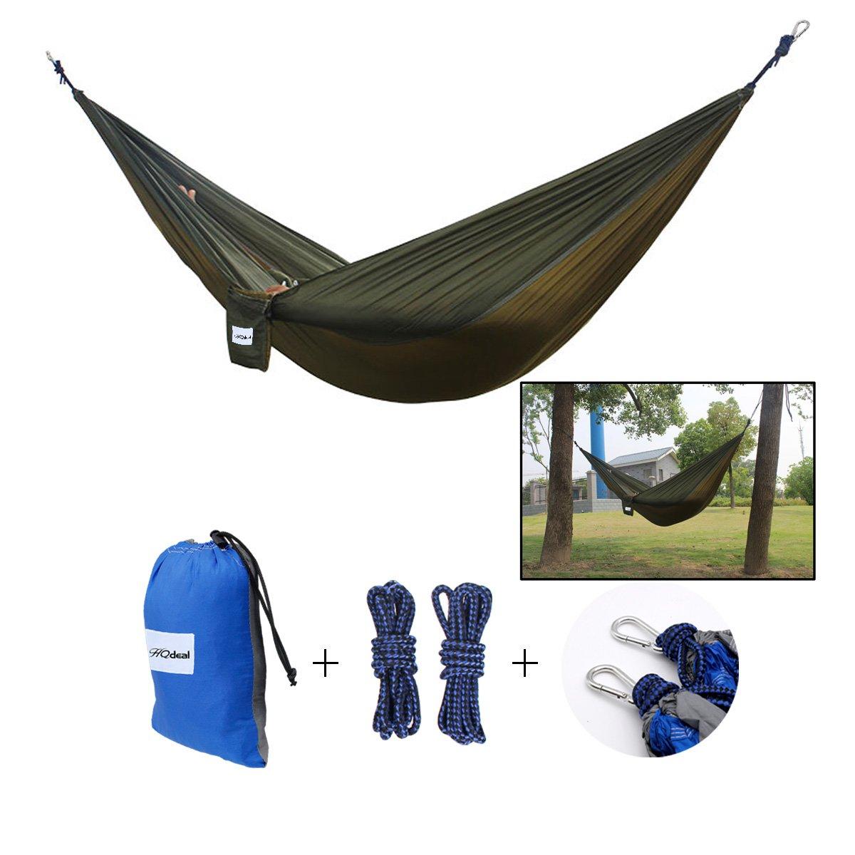 HQdeal Fallschirmseide Hä ngen Hä ngematte fü r den Garten/Camping/Strand/Reisen 2 Personen Belastung 445lbs