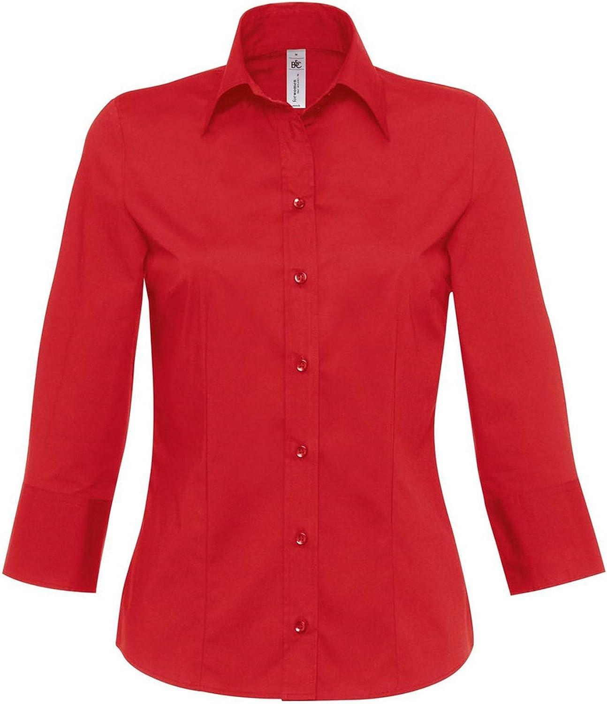 B&C - Camisa de popelín con Mangas 3/4 Modelo Milano para Mujer (Grande (L)/Burdeos): Amazon.es: Ropa y accesorios