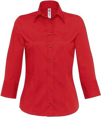 B&C - Camisa de popelín con Mangas 3/4 Modelo Milano para ...