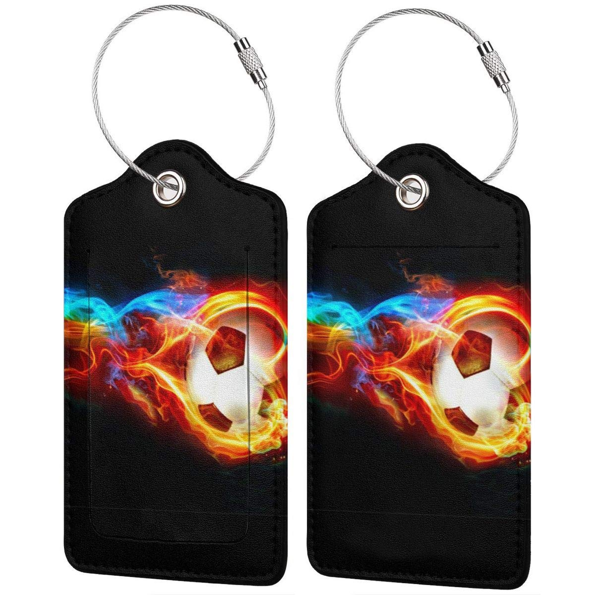 Leather Luggage Tag Flame Soccer Ball Fire Luggage Tags For Suitcase Travel Lover Gifts For Men Women 2 PCS