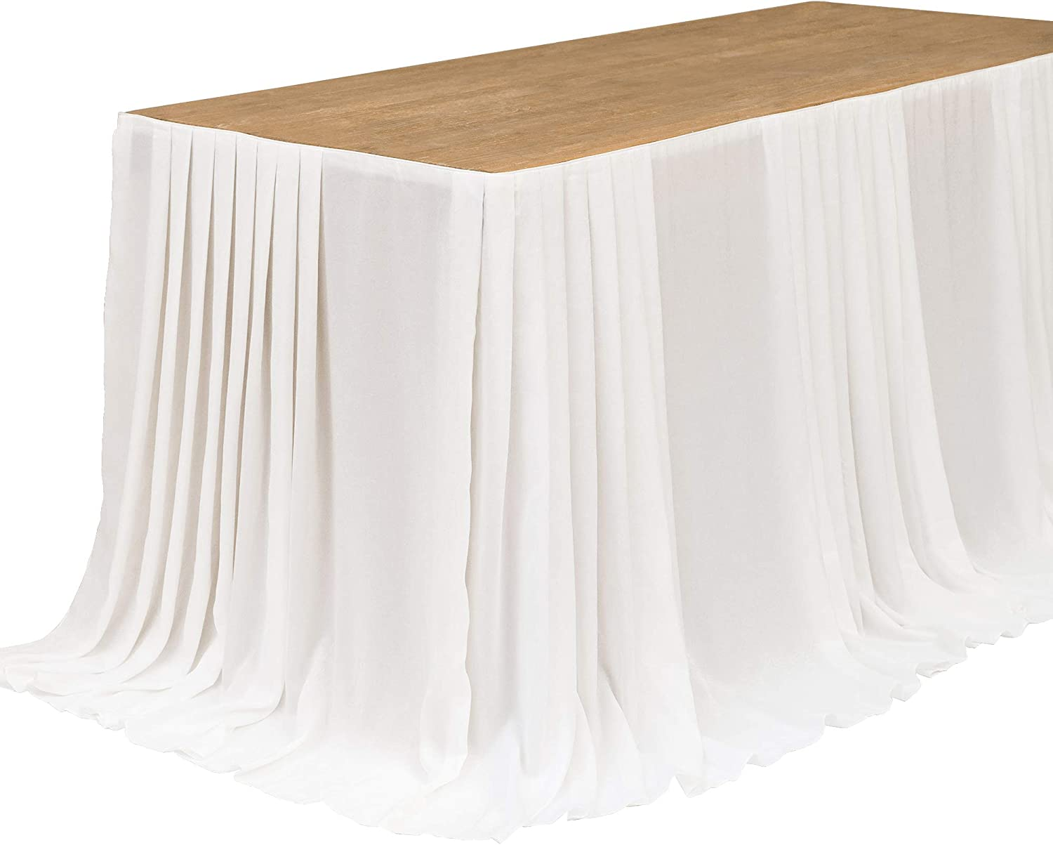 Ling's moment 9FT Table Skirt Extra Long Tablecloth for Wedding Sweetheart Table Reception Table Bridal Shower Birthday Party Cake Table Decoration