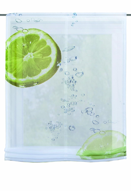 Home fashion 82262-768 Hamilton - Tenda a pacchetto in voile con stampa digitale + accessori, 140 x 100 cm, colore: Verde