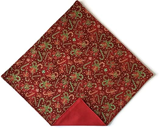 New Holiday Mens Red w// Green Trim Christmas Pocket Square Handkerchief 324