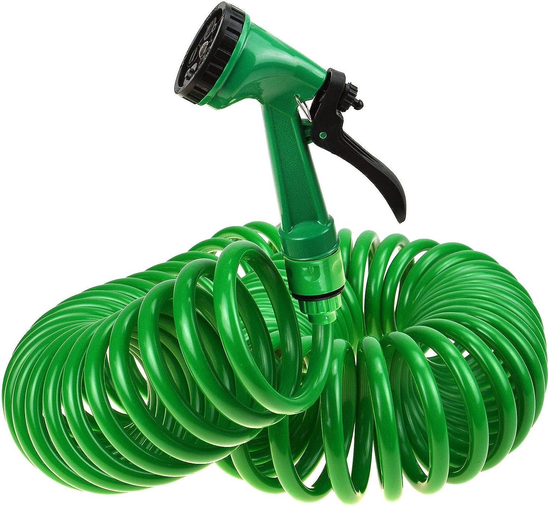 New 50 Foot Bobina retráctil y extensible para manguera de jardín con pistola pulverizador de agua 5 funciones zizzi: Amazon.es: Jardín