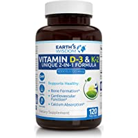 Vitamin D3 5000 IU with K2 (MK7) Formula. Bone & Heart Health Complex w/Superior Absorption. Immune, Bone & Muscle…