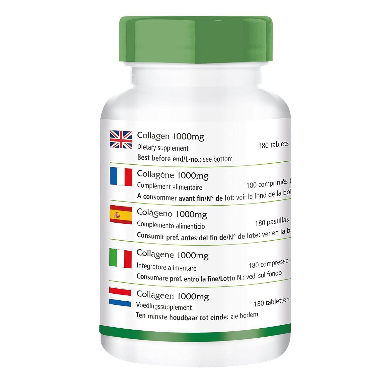 Comprimidos de Colágeno - dosis alta - 180 comprimidos - con la vitamina C y L-ornitina: Amazon.es: Salud y cuidado personal