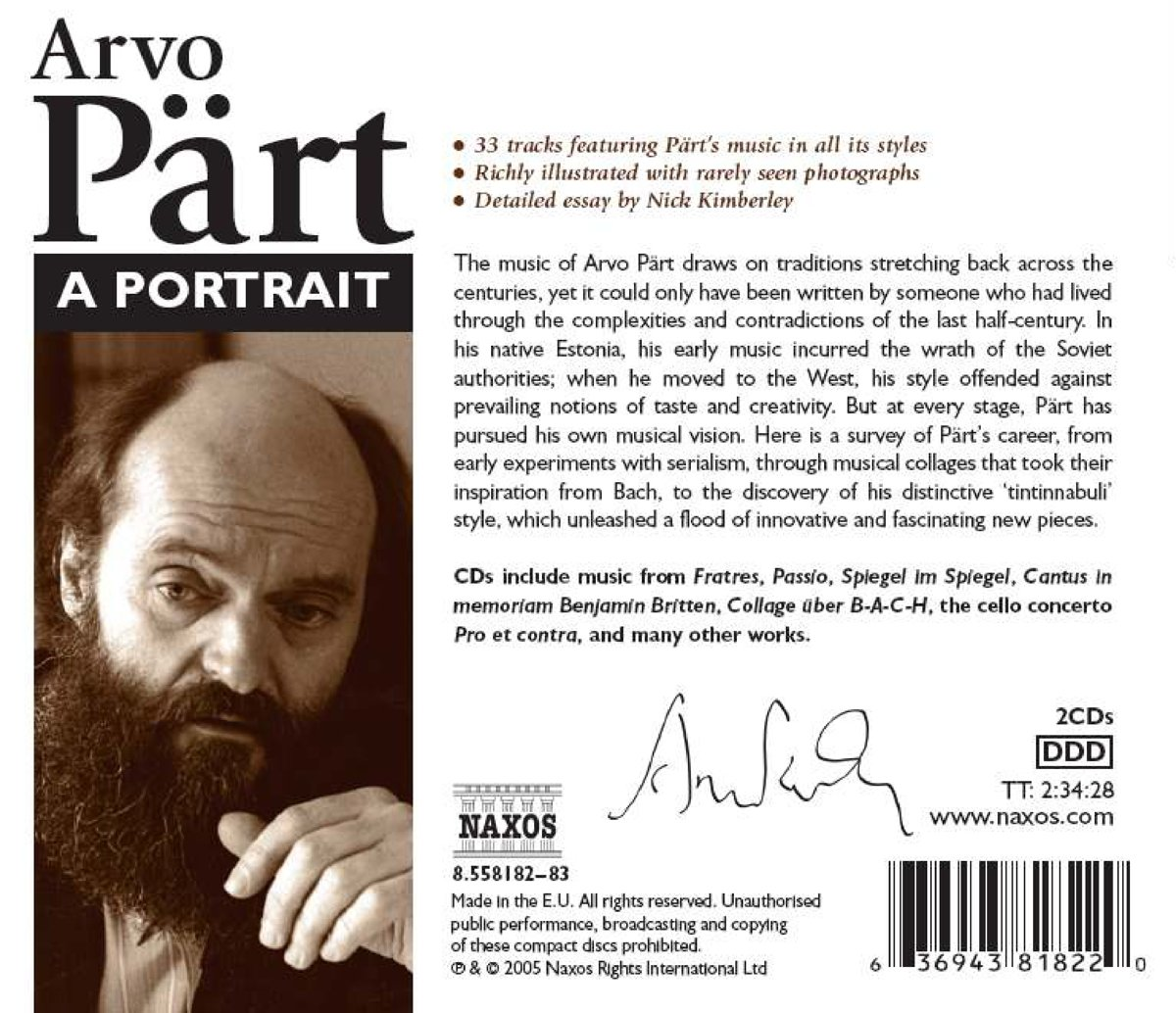 arvo part arvo part a portrait amazon com music