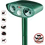 Wikoo Animal Trap Springs Solar Ultrasonic Outdoor Animal Repellent Pest Repeller - Electronic Dog Deterrent, Mouse Repellent, Squirrel Trap, Bird Deterrent - Motion Activated [Upgraded]