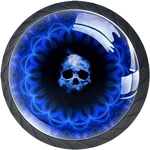 4 Pieces Black Cabinet Knobs Round Door Knobs Skull Dark Blue Gothic Fantasy Black Kitchen Cabinet Hardware 1.37 Inch Width Round Cute Cabinet Knobs Decor Childen's Room Nursery 1.38×1.10in