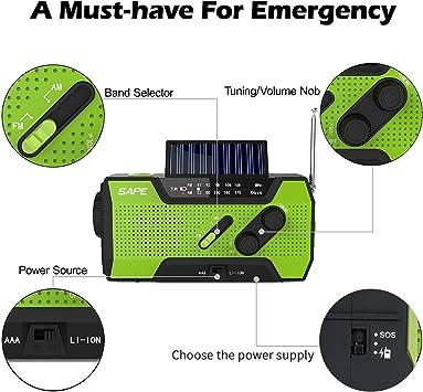 Radio de Emergencia Solar AM/FM NOAA Radio Meteorológica de Mano con Banco de Energía Portátil 2000mAh, Linterna Brillante y Lámpara de Lectura para Emergencias ...
