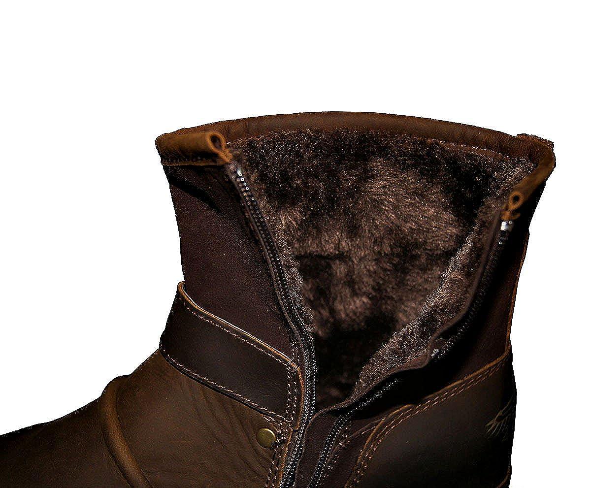 OTTO ZONE Herren Worker Boots | | Schnürstiefeletten Leder Optik | Boots Blockabsatz Profilsohle | Schnürer Schuhe Schnallen | Schnürboots |OZ-5008-1 Braunes Fell f71acb