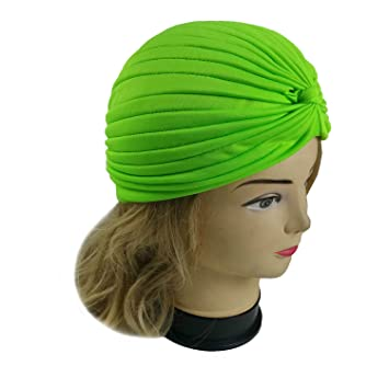 accf3ab46bb Amazon.com   Lady Stretchy Turban Head Wrap Band Chemo Bandana Hijab  Pleated Indian Cap Hat (Lime)   Beauty