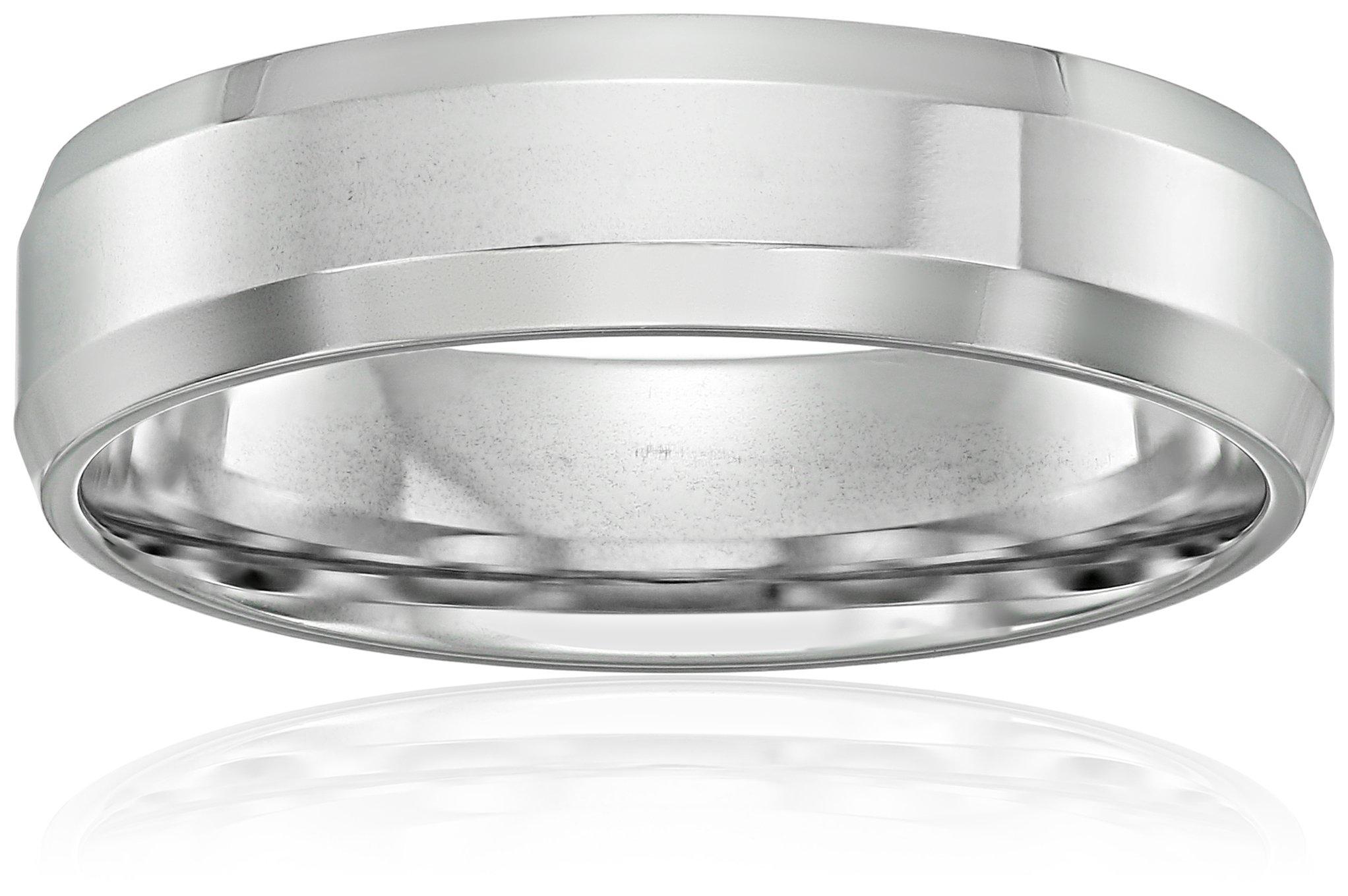 10k White Gold 6mm Comfort Fit High Polish Wedding Band with Beveled Edges, Size 10