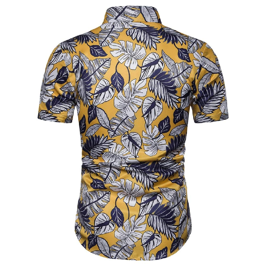 Domple Mens Plus Size Short Sleeve Hawaiian Print Beach Regular-Fit Button Front Shirts