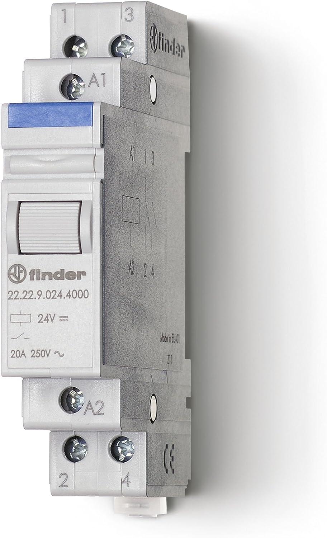 Finder 222290244000PAS - Relé modular 24 DC 2 NO 20 A AgSnO284 x 18 x 59 cm color gris