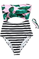 Cupshe Fashion Women's Leaves Printing Stripe Halter One-Piece Padding Swimsuit With Cutout