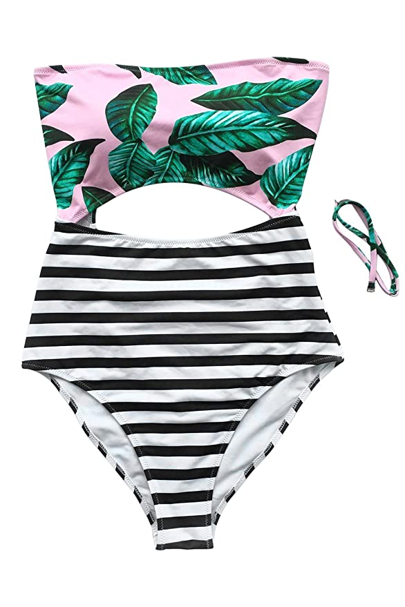 Cupshe Fashion Women's Leaves Printing Stripe Halter One-piece Padding Swimsuit with Cutout (L)