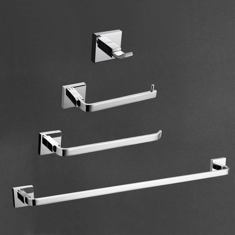 StarFashion Solid Brass Bathroom 4-Piece Hardware Set Towel Hook Towel Bar Toilet Paper Holder Tower Holder Bathroom Accessory Set, Polished Chrome RUSTPROOF