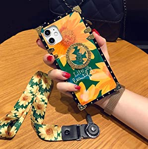 KAPADSON for iPhone 7 Plus/iPhone 8 Plus Newest Retro Blue Ray Sun Plower Skin Design Gold Square Corner Back Holder Case with Strap - Sun Flower
