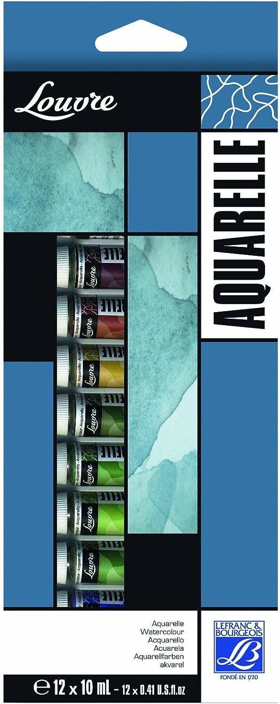 Lefranc & Bourgeois Louvre - Pack de 12 tubos de pintura de acuarela (10 ml): Amazon.es: Oficina y papelería